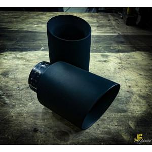 Anschraubendrohr 104mm gebördelt schräg schwarz...