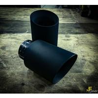 Anschraubendrohr 104mm gebördelt schräg schwarz beschichtet